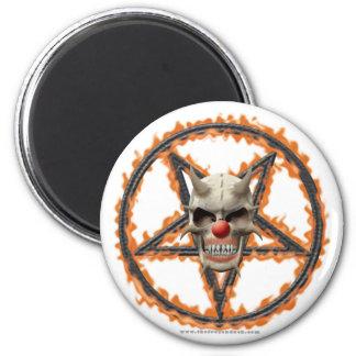 Cráneo del payaso del demonio y Pentagram ardiente Imán De Frigorífico
