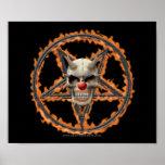 Cráneo del payaso del demonio y Pentagram ardiente Posters