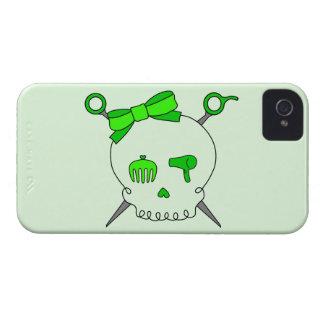Cráneo del pelo y tijeras accesorios (verde lima iPhone 4 Case-Mate funda