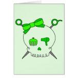 Cráneo del pelo y tijeras accesorios (verde lima tarjeta
