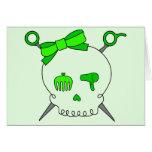 Cráneo del pelo y tijeras accesorios (verde lima tarjetas