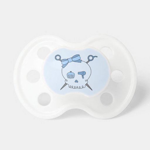 Cráneo del pelo y tijeras accesorios (versión azul chupete de bebé