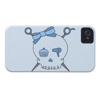 Cráneo del pelo y tijeras accesorios (versión azul Case-Mate iPhone 4 fundas