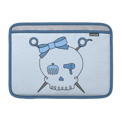 Cráneo del pelo y tijeras accesorios (versión azul funda para macbook air