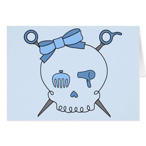 Cráneo del pelo y tijeras accesorios (versión azul tarjeta de felicitación