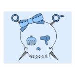 Cráneo del pelo y tijeras accesorios (versión azul postal