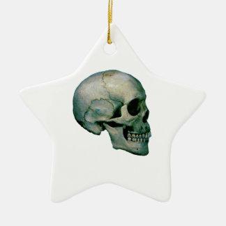 Cráneo del perfil adorno navideño de cerámica en forma de estrella