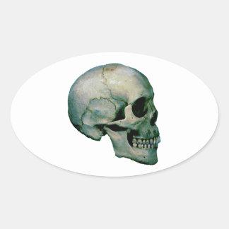 Cráneo del perfil pegatina ovalada