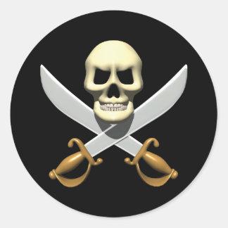 cráneo del pirata 3D y espadas cruzadas Pegatina Redonda