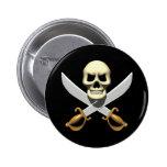 cráneo del pirata 3D y espadas cruzadas Pin
