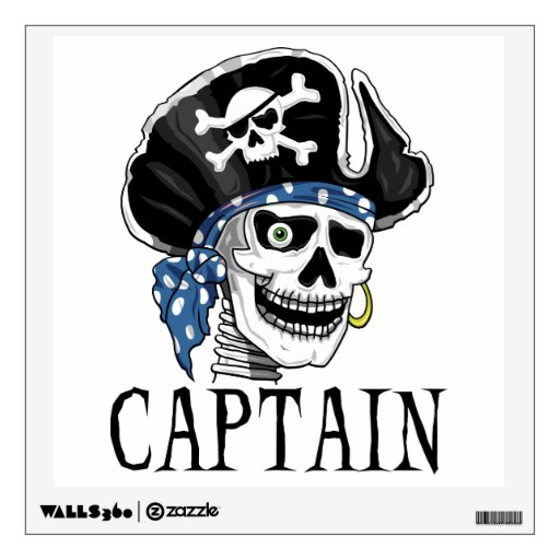 Cráneo del pirata - capitán vinilo adhesivo