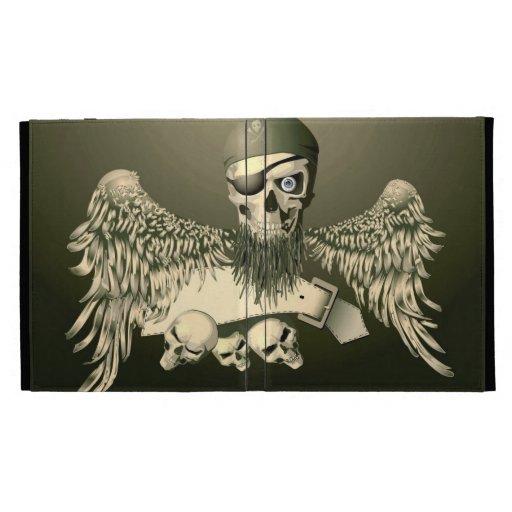 Cráneo del pirata con el caso del iPad de las alas