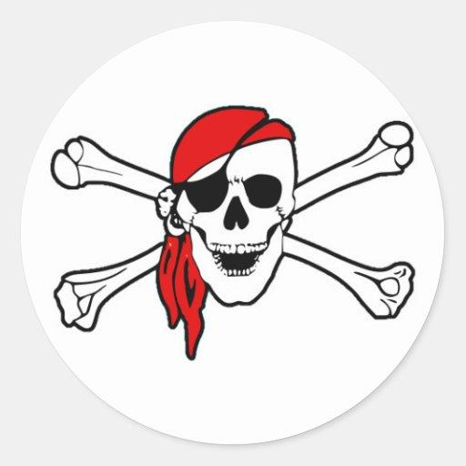 Cráneo del pirata con la bufanda roja pegatina