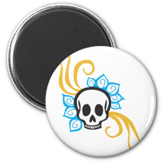 Cráneo del pirata de la flor de la alheña imán para frigorífico