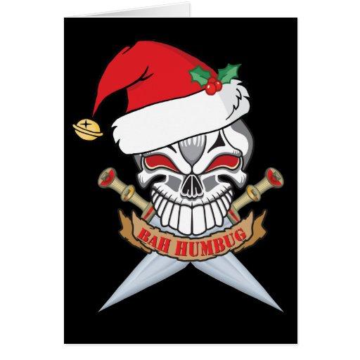 Cráneo del pirata de Santa del Anti-Navidad Tarjeton