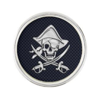 Cráneo del pirata del cromo en la impresión de la  pin