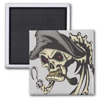 Cráneo del pirata del gancho del subtítulo imán para frigorífico
