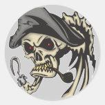 Cráneo del pirata del gancho del subtítulo pegatinas