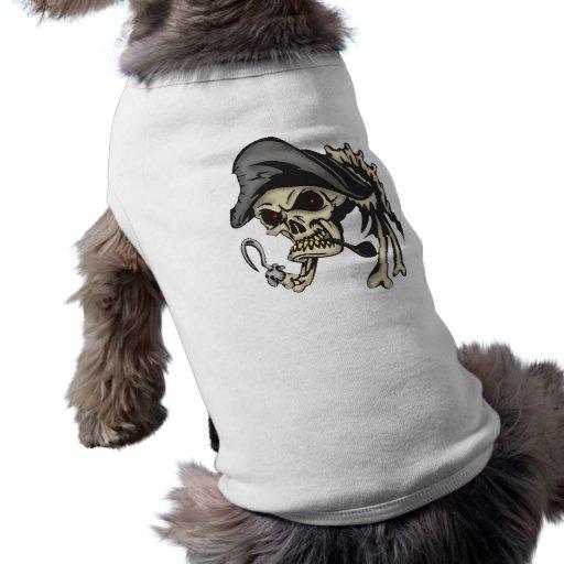 Cráneo del pirata del gancho del subtítulo camiseta de mascota