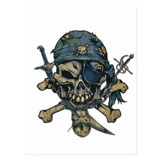 Cráneo del pirata del horror tarjetas postales