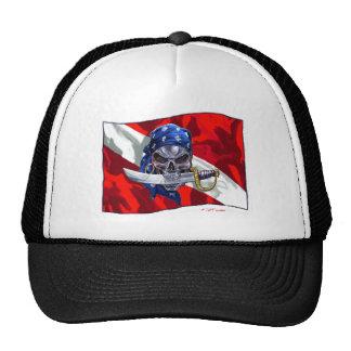 Cráneo del pirata en bandera de la zambullida gorra