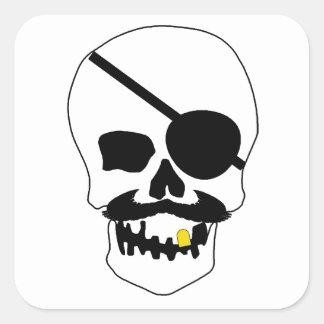 Cráneo del pirata calcomanias cuadradas