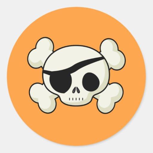 Cráneo del pirata pegatina redonda