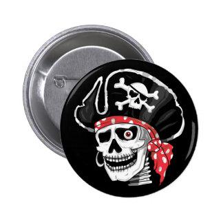 Cráneo del pirata pin redondo de 2 pulgadas
