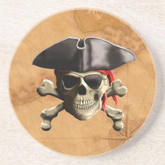 Cráneo del pirata posavasos diseño