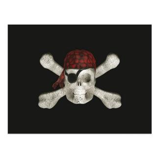 Cráneo del pirata - postal de Halloween