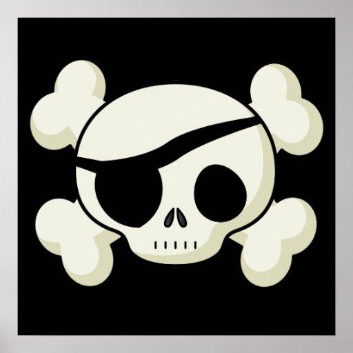 Cráneo del pirata póster