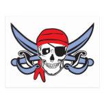 Cráneo del pirata tarjeta postal