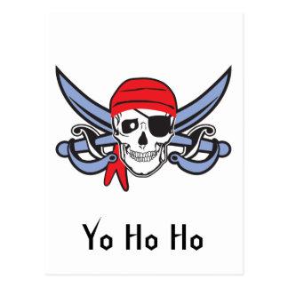 Cráneo del pirata y arco cruzado postal