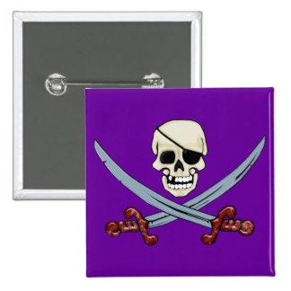 Cráneo del pirata y arte espeluznante cruzado de pin cuadrado