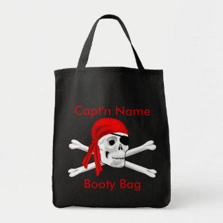 Cráneo del pirata y bolso del botín de los huesos bolsas de mano