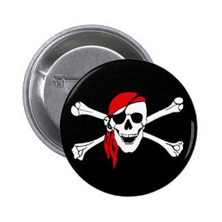 Cráneo del pirata y botón cruzado de los huesos pin redondo de 2 pulgadas
