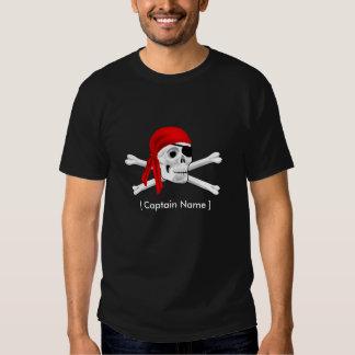 Cráneo del pirata y capitán Men's T-shirt de los Playeras