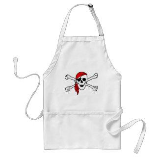 Cráneo del pirata y delantal de la bandera pirata