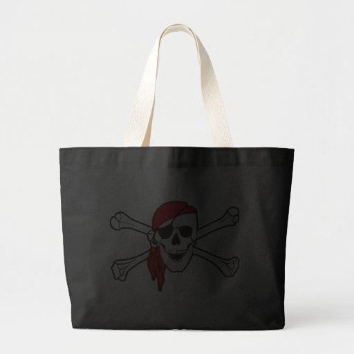 Cráneo del pirata y la bolsa de asas de la bandera