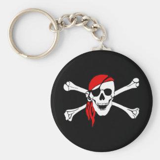 Cráneo del pirata y llavero de la bandera pirata