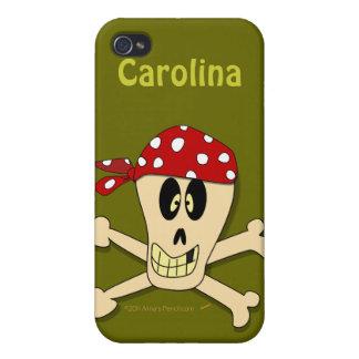 Cráneo del pirata y nombre del personalizado de la iPhone 4/4S carcasa