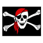 Cráneo del pirata y postal de la bandera pirata