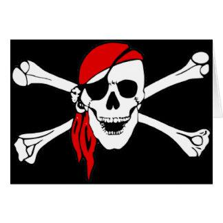 Cráneo del pirata y tarjeta de felicitación de la