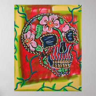 Cráneo del poster de las flores