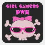 Cráneo del pwn de los videojugadores del chica con calcomania cuadradas personalizadas