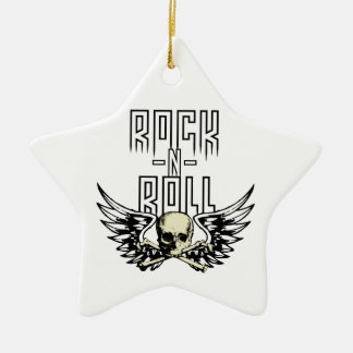 Cráneo del rollo de la roca n con las alas adorno navideño de cerámica en forma de estrella