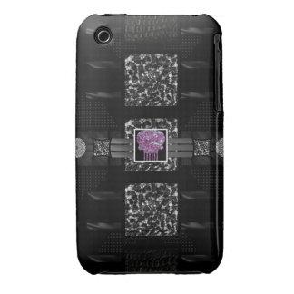 Cráneo del rosa de la cebra del leopardo iPhone 3 Case-Mate cárcasas
