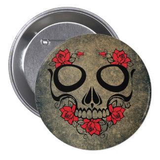 Cráneo del rosa rojo pin redondo 7 cm