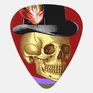 Cráneo del sombrero de copa del vintage vivo plumilla de guitarra