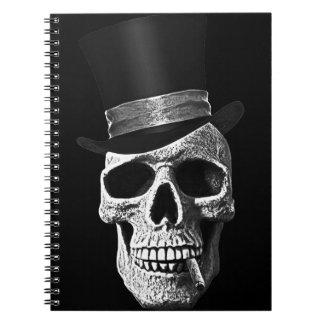 Cráneo del sombrero de copa libro de apuntes